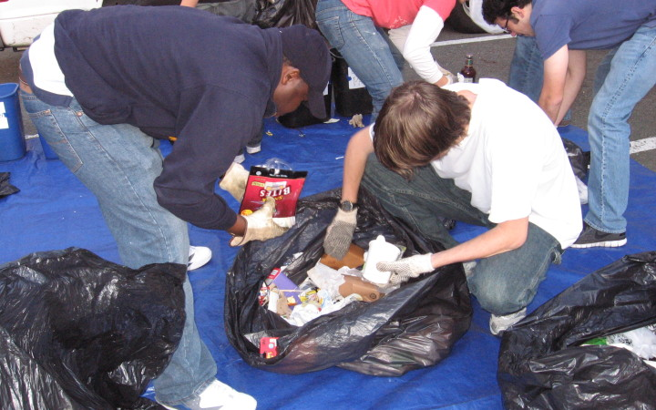 Cal students sort waste
