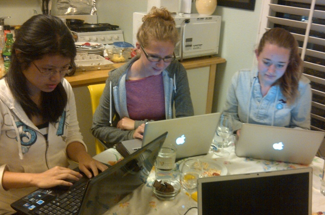 The first group of Wikiwomen, hard at work