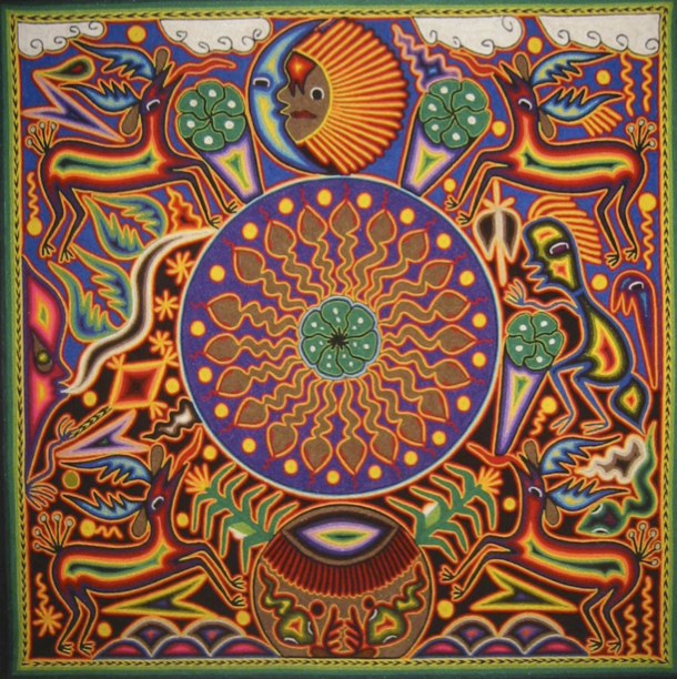 Huichol yarn painting, inspired by peyote, the sacramental cactus containing the psychedelic chemical mescaline.
