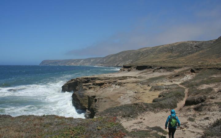 Exploring the coastal cliffs of Santa Rosa Island. (Levi Gadye)