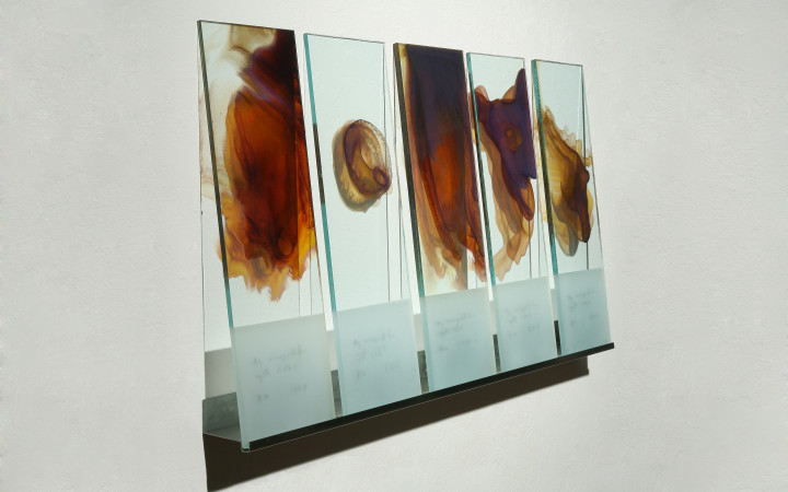 Kate Nichols. Through the Looking Glass 1. Silver nanoparticles on glass. 24 x 45 inches, 2011. Photo credit: Donald Felton
