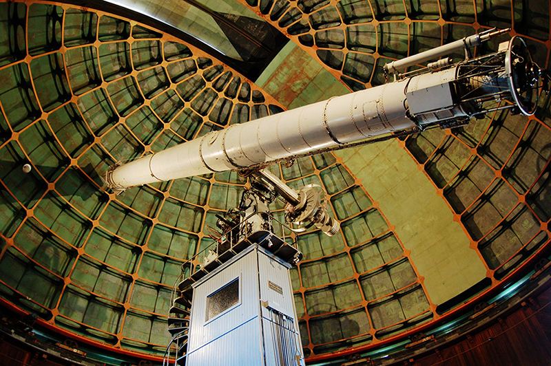 The James Lick Telescope, housed at the Lick Observatory at the summit of Mount Hamilton, was the world's largest refracting telescope when it started taking data in 1888. credit: Jean-Daniel Pauget