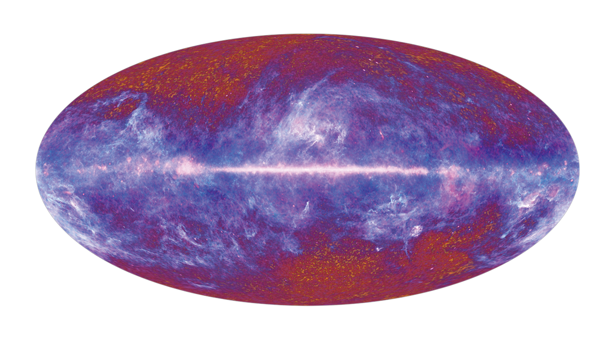 Planck satellite map of temperature fluctuations in the cosmic microwave background (CMB). credit: ESA/ LFI & HFI Consortia
