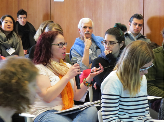 A PhD student in the audience asks a question. Photo by Saray Ayala and Nadya Vasilyeva