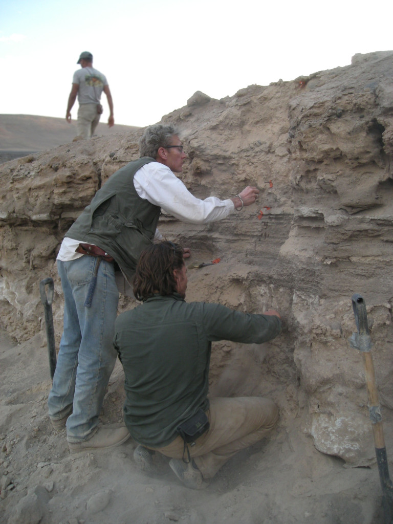 Ron Amudson (left) hunts for clues of past inland climates, such as pedothems, in the Atacama Desert, Chile, alongside ESPM graduate student Marco Pfeiffer (right). Photo credit: Erik Oerter
