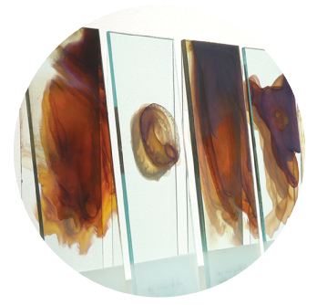 """Kate Nichols' """"Through the Looking Glass 1."""" Silver nanoparticles on glass. 24 x 45 inches, 2011. Photo: Donald Felton."""